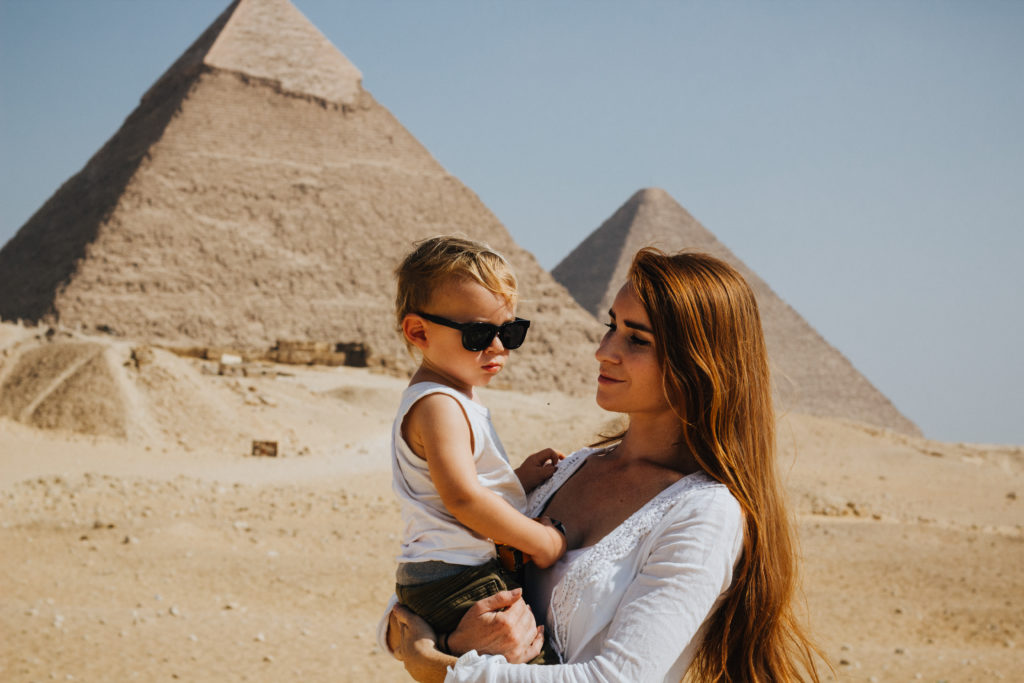 Visiting the pyramids with a child
